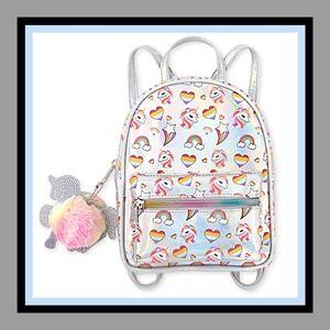 Girls Unicorn Heart Holographic Mini Backpack